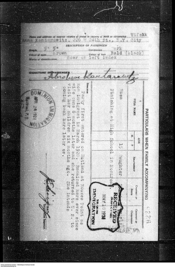 Title: Border Entry, Form 30, 1919-1924 - Mikan Number: 161377 - Microform: t-15295