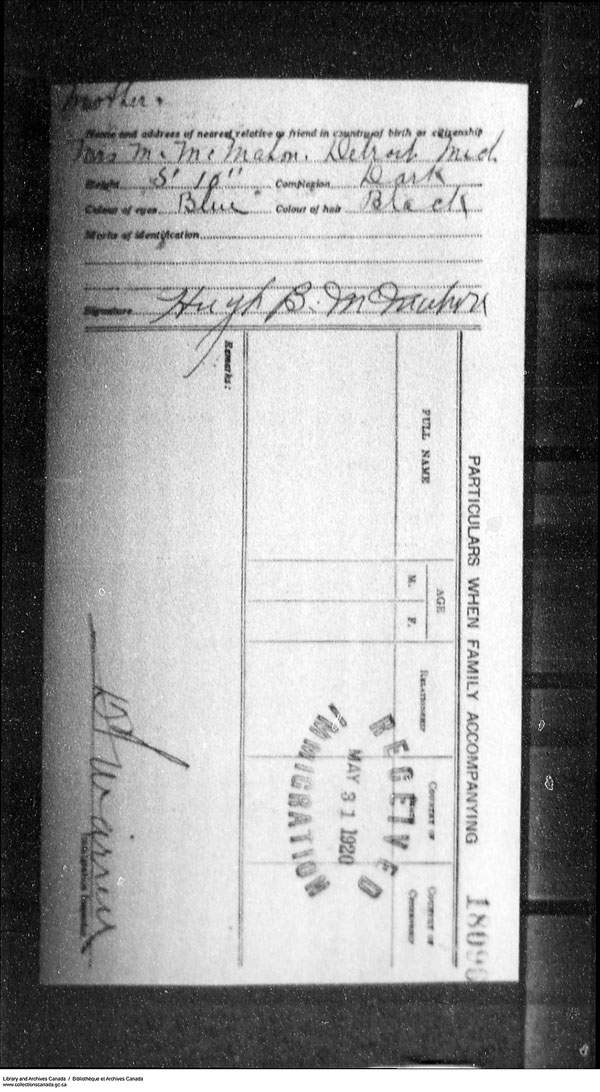 Title: Border Entry, Form 30, 1919-1924 - Mikan Number: 161377 - Microform: t-15307
