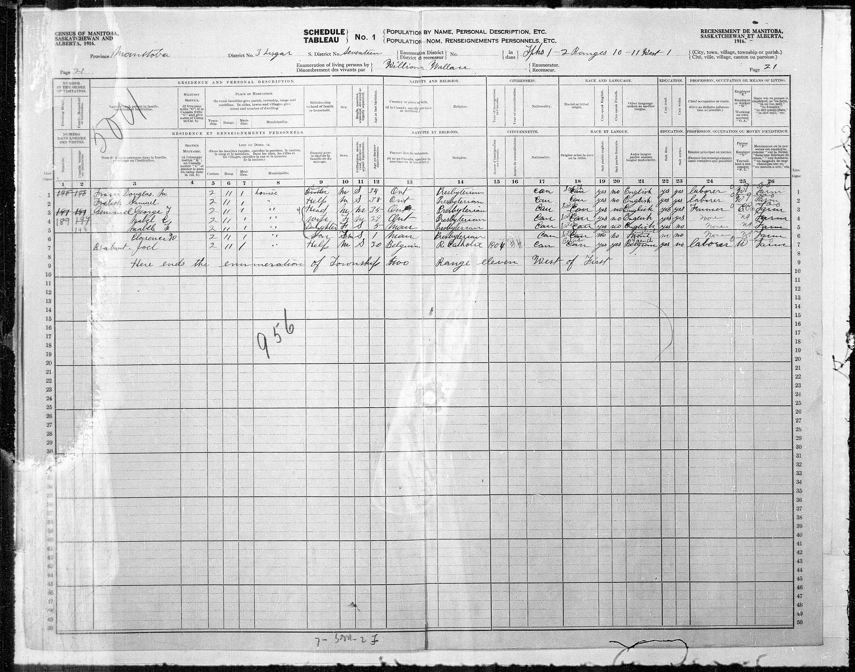 Title: Census of the Prairie Provinces, 1916 - Mikan Number: 3800575 - Microform: t-21926