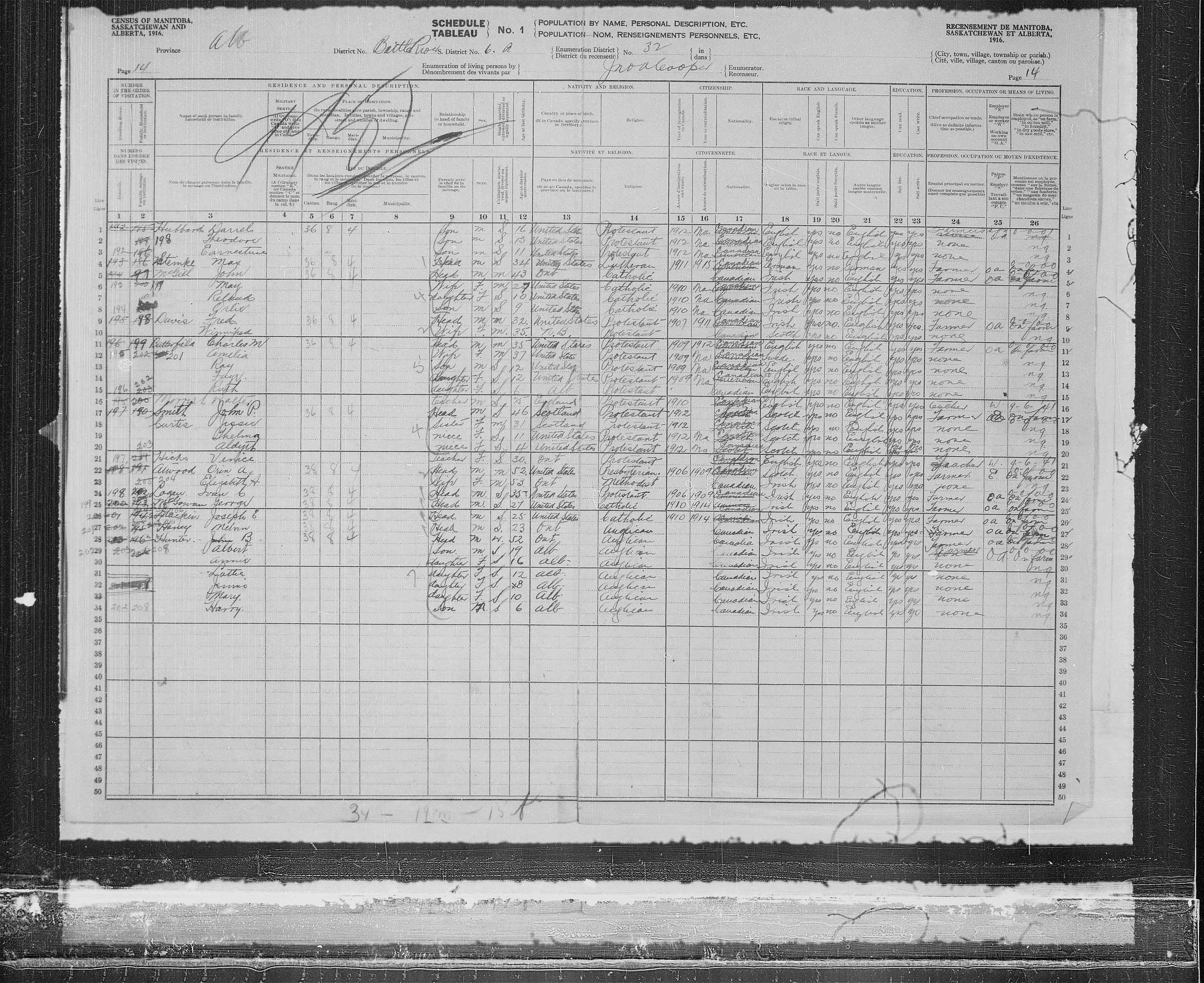 Title: Census of the Prairie Provinces, 1916 - Mikan Number: 3800575 - Microform: t-21946