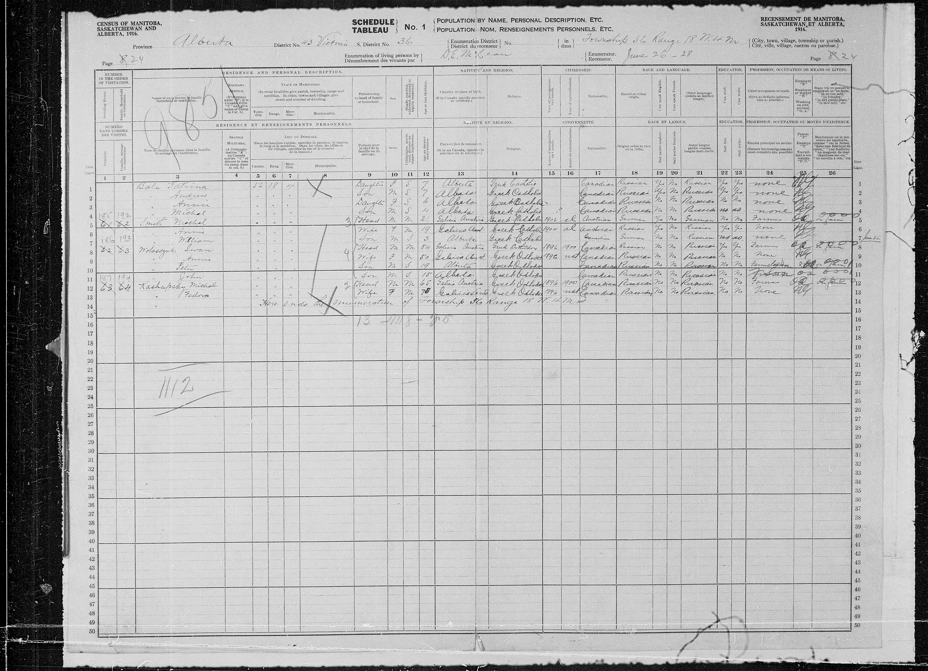 Title: Census of the Prairie Provinces, 1916 - Mikan Number: 3800575 - Microform: t-21955