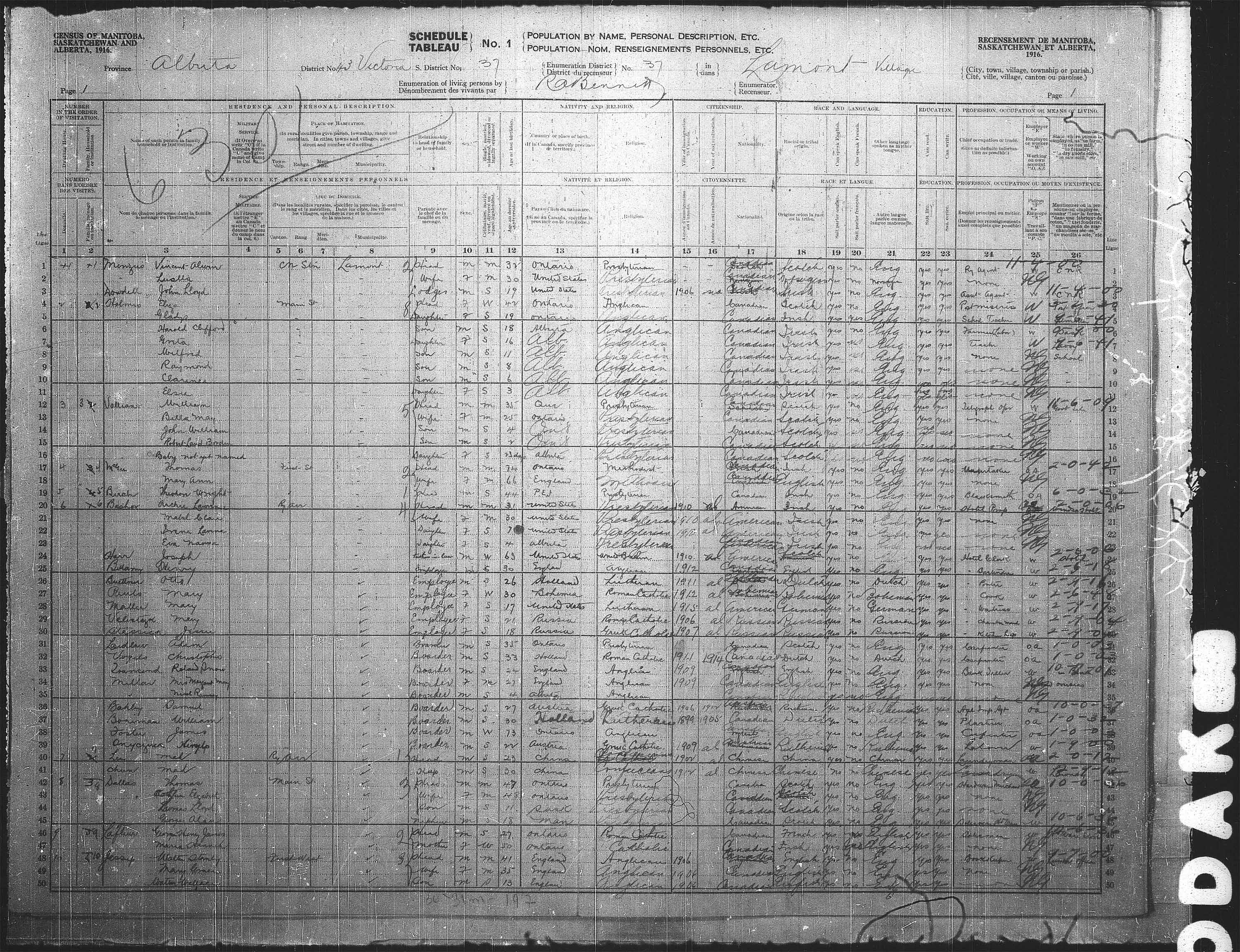 Title: Census of the Prairie Provinces, 1916 - Mikan Number: 3800575 - Microform: t-21956