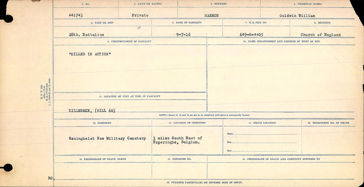 Title: Circumstances of Death Registers, First World War - Mikan Number: 46246 - Microform: 31829_B016685