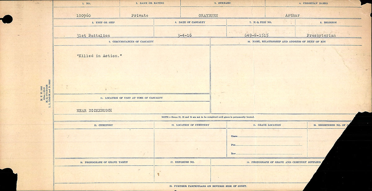 Title: Circumstances of Death Registers, First World War - Mikan Number: 46246 - Microform: 31829_B016687