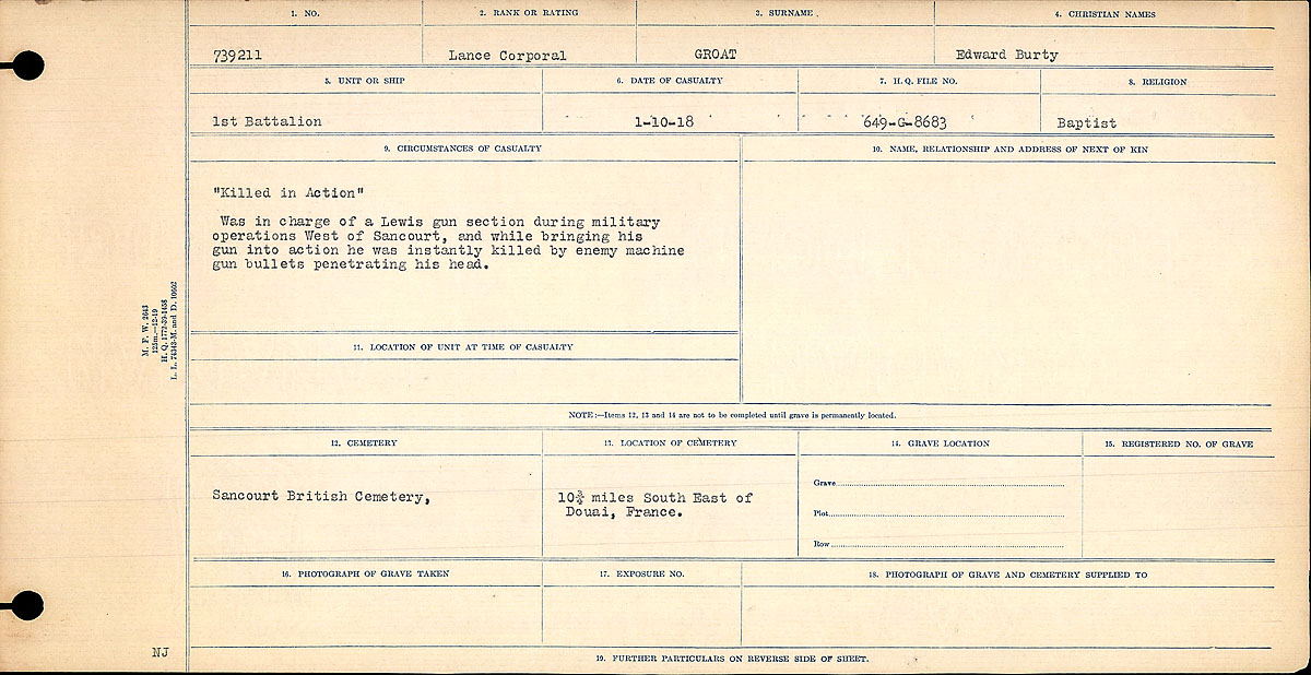 Title: Circumstances of Death Registers, First World War - Mikan Number: 46246 - Microform: 31829_B016688