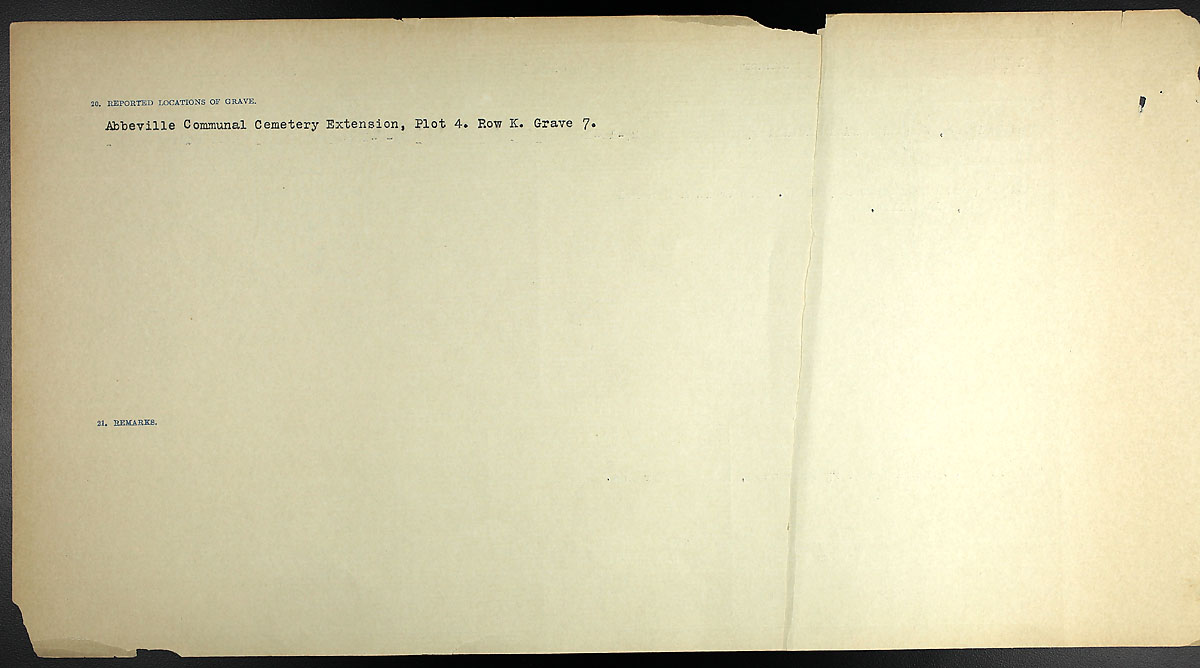 Title: Circumstances of Death Registers, First World War - Mikan Number: 46246 - Microform: 31829_B016689