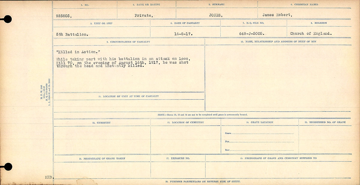 Title: Circumstances of Death Registers, First World War - Mikan Number: 46246 - Microform: 31829_B016692