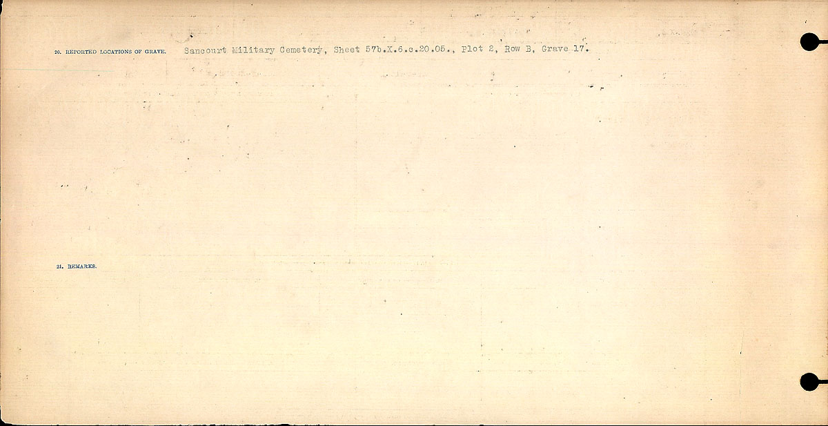 Title: Circumstances of Death Registers, First World War - Mikan Number: 46246 - Microform: 31829_B016693