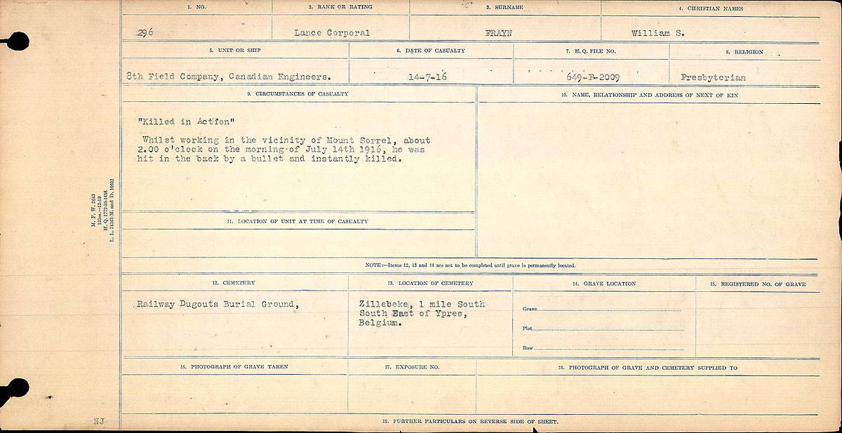 Title: Circumstances of Death Registers, First World War - Mikan Number: 46246 - Microform: 31829_B016694