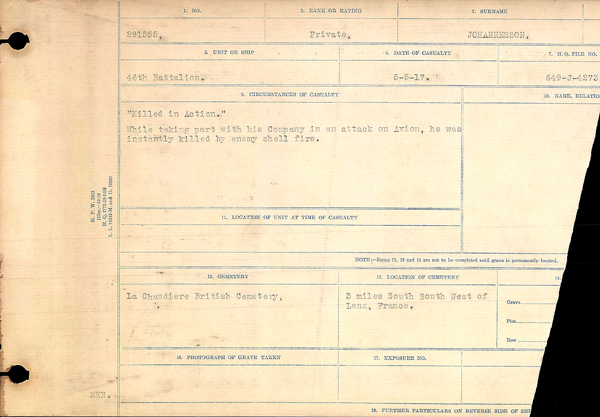 Title: Circumstances of Death Registers, First World War - Mikan Number: 46246 - Microform: 31829_B016695