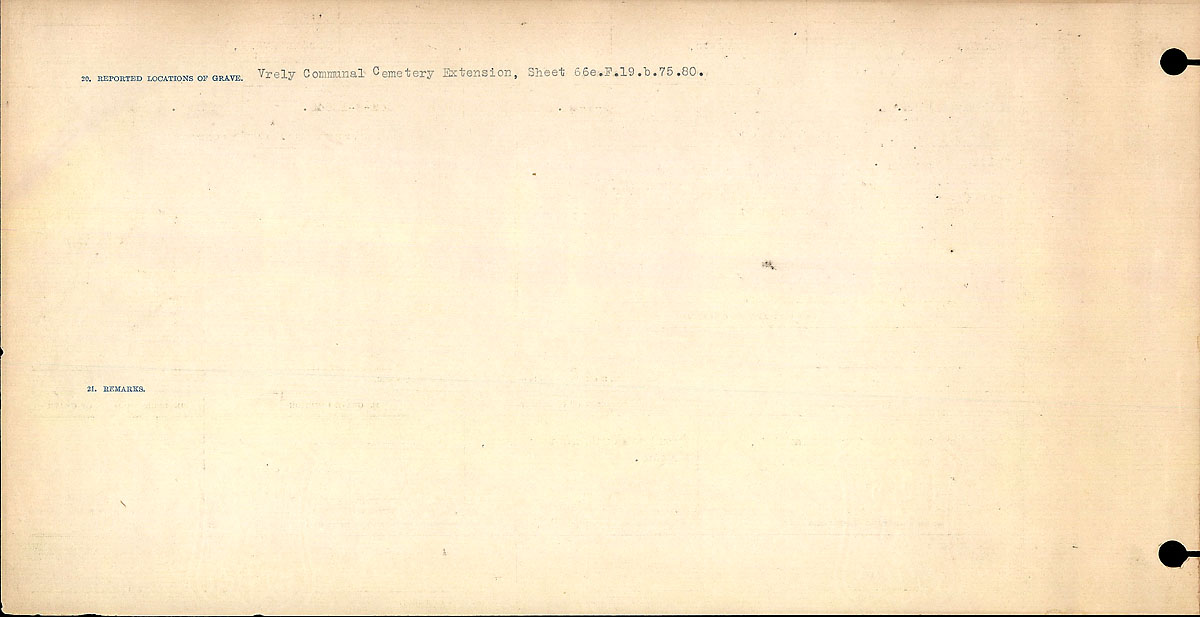 Title: Circumstances of Death Registers, First World War - Mikan Number: 46246 - Microform: 31829_B016697