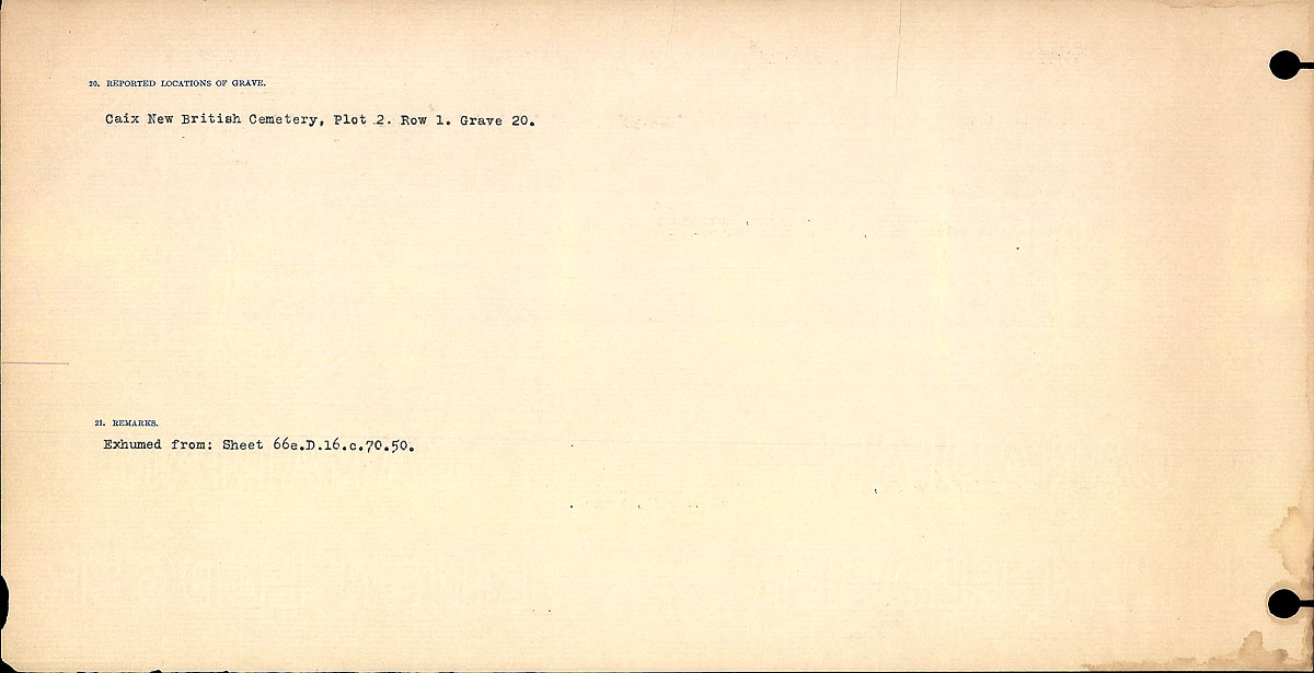 Title: Circumstances of Death Registers, First World War - Mikan Number: 46246 - Microform: 31829_B016698