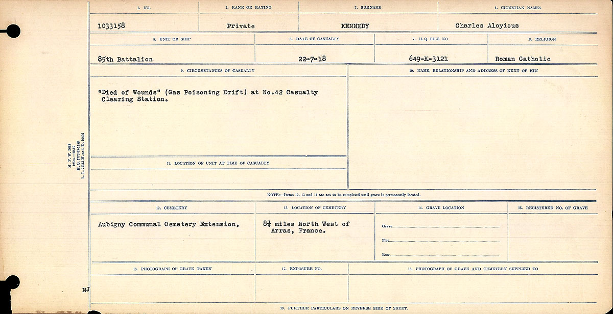 Title: Circumstances of Death Registers, First World War - Mikan Number: 46246 - Microform: 31829_B016699