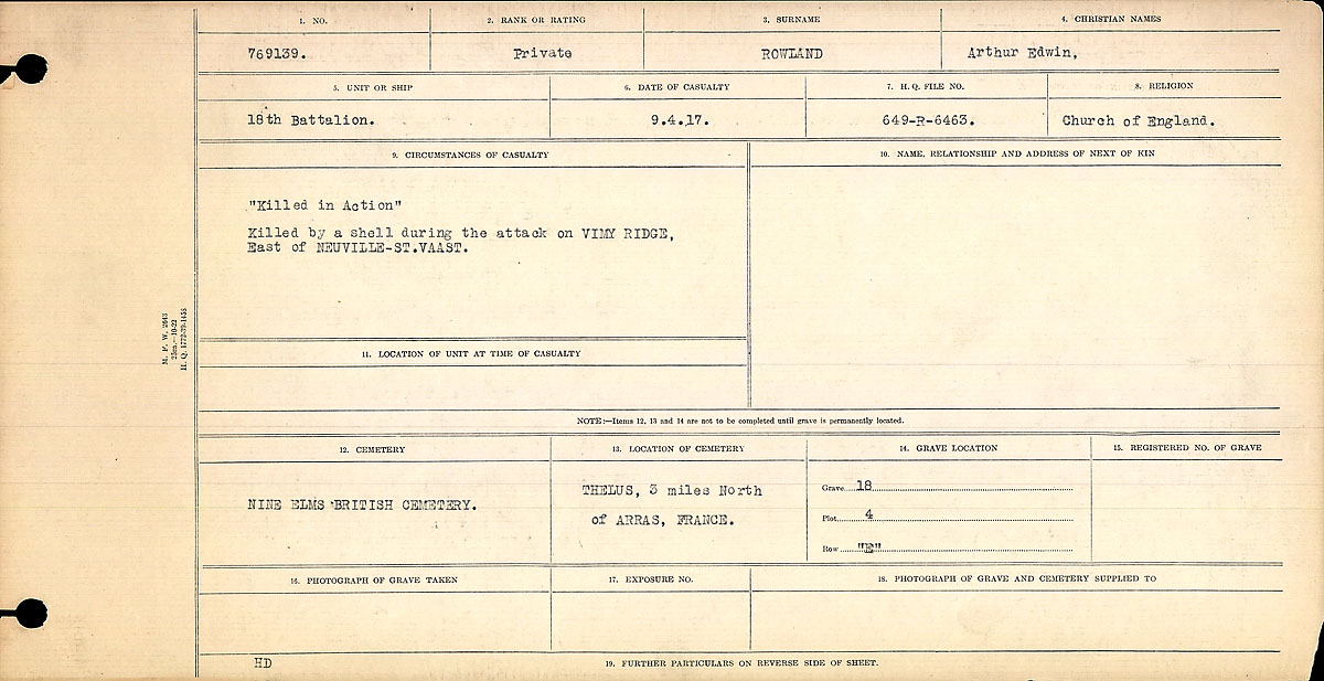 Title: Circumstances of Death Registers, First World War - Mikan Number: 46246 - Microform: 31829_B016703