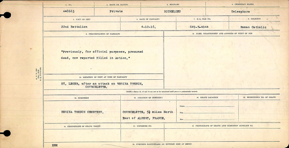 Title: Circumstances of Death Registers, First World War - Mikan Number: 46246 - Microform: 31829_B016704