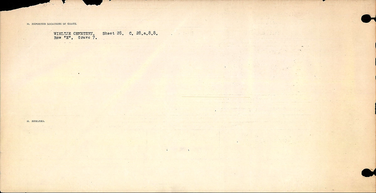 Title: Circumstances of Death Registers, First World War - Mikan Number: 46246 - Microform: 31829_B016707