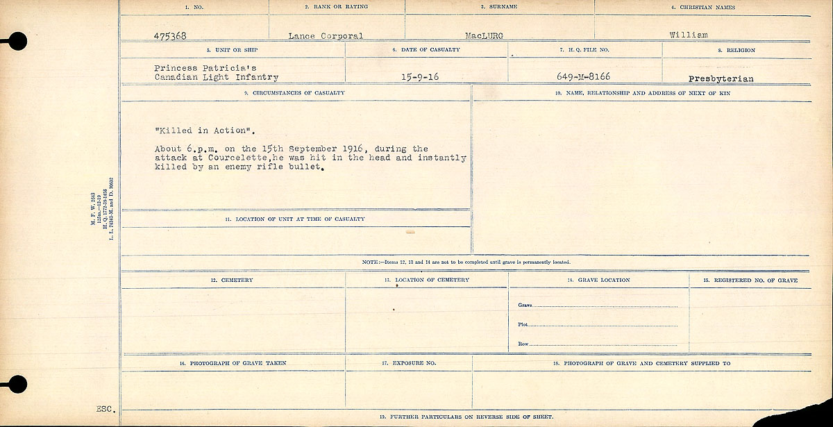 Title: Circumstances of Death Registers, First World War - Mikan Number: 46246 - Microform: 31829_B016708