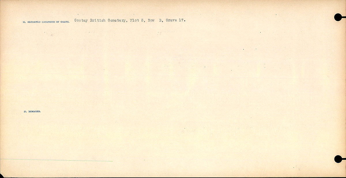 Title: Circumstances of Death Registers, First World War - Mikan Number: 46246 - Microform: 31829_B016709