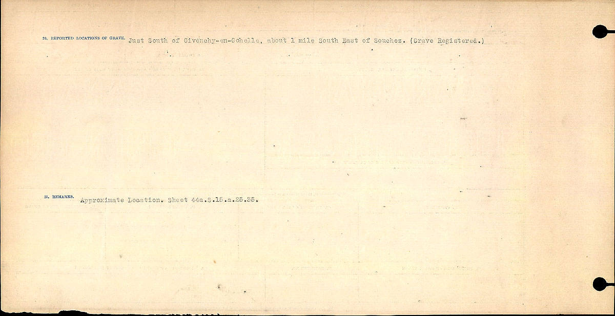 Title: Circumstances of Death Registers, First World War - Mikan Number: 46246 - Microform: 31829_B016710