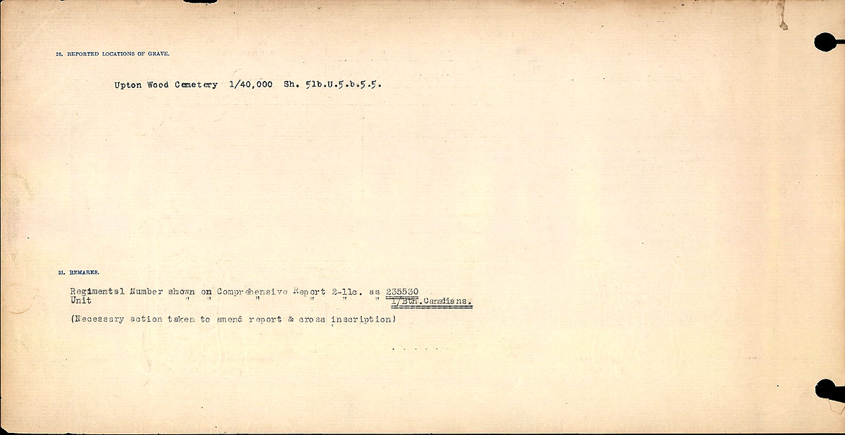 Title: Circumstances of Death Registers, First World War - Mikan Number: 46246 - Microform: 31829_B016711