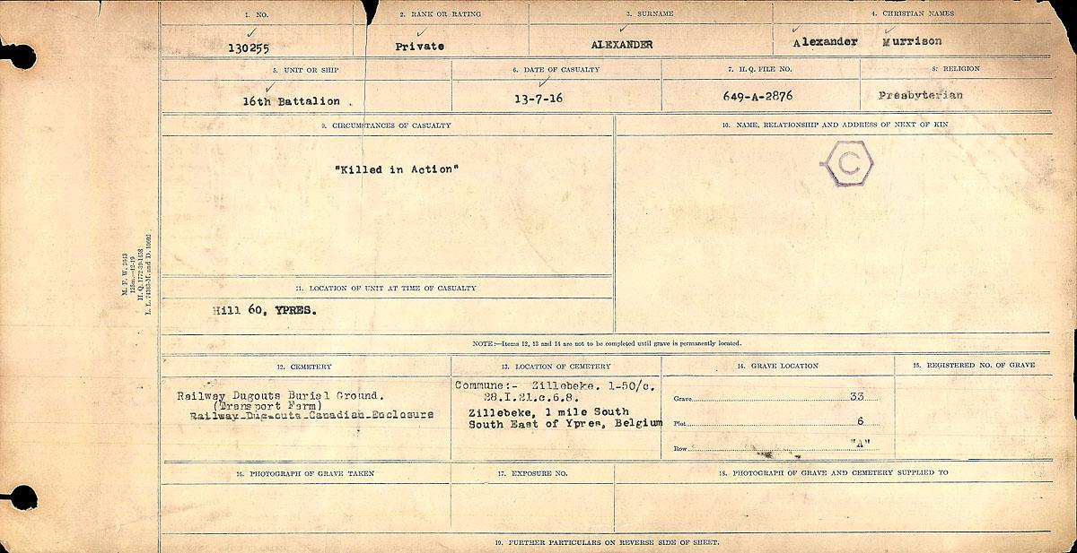 Titre: Registres de circonstances du décès, Première Guerre mondiale - N° d'enregistrement Mikan: 46246 - Microforme: 31829_B016712