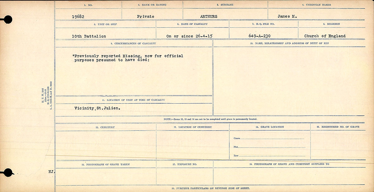 Title: Circumstances of Death Registers, First World War - Mikan Number: 46246 - Microform: 31829_B016714