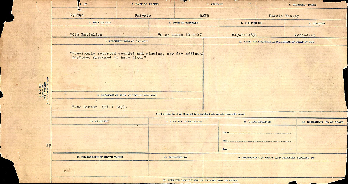Title: Circumstances of Death Registers, First World War - Mikan Number: 46246 - Microform: 31829_B016715