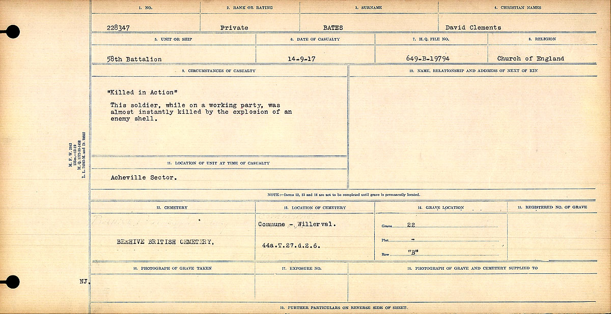 Title: Circumstances of Death Registers, First World War - Mikan Number: 46246 - Microform: 31829_B016716