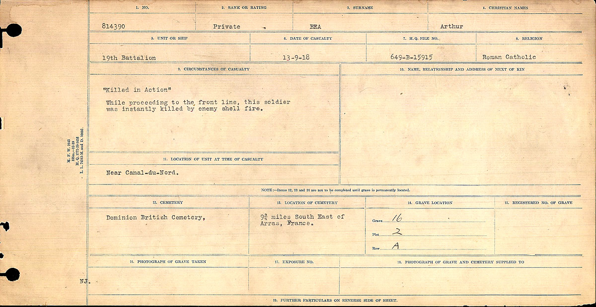 Title: Circumstances of Death Registers, First World War - Mikan Number: 46246 - Microform: 31829_B016717