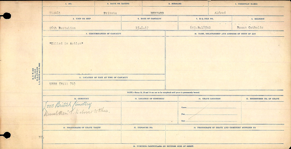 Title: Circumstances of Death Registers, First World War - Mikan Number: 46246 - Microform: 31829_B016719
