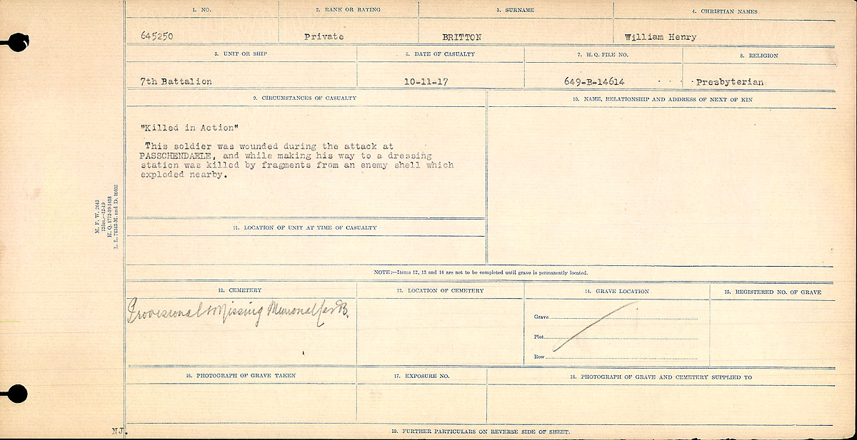 Title: Circumstances of Death Registers, First World War - Mikan Number: 46246 - Microform: 31829_B016722