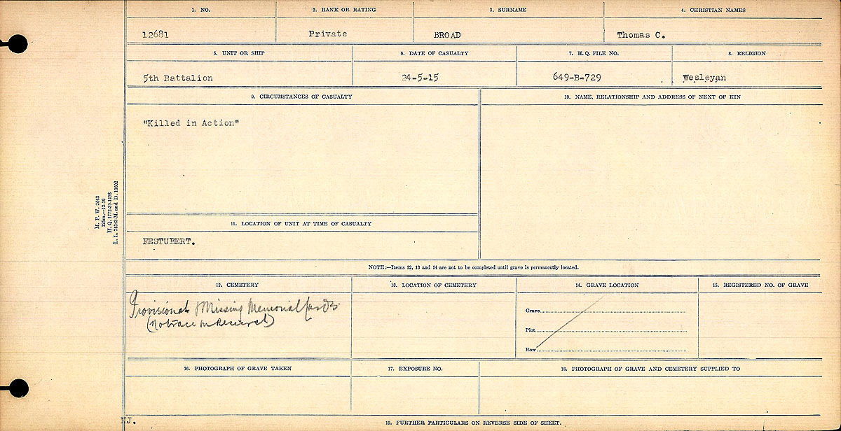 Title: Circumstances of Death Registers, First World War - Mikan Number: 46246 - Microform: 31829_B016723