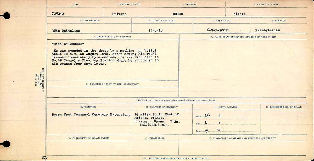 Title: Circumstances of Death Registers, First World War - Mikan Number: 46246 - Microform: 31829_B016724