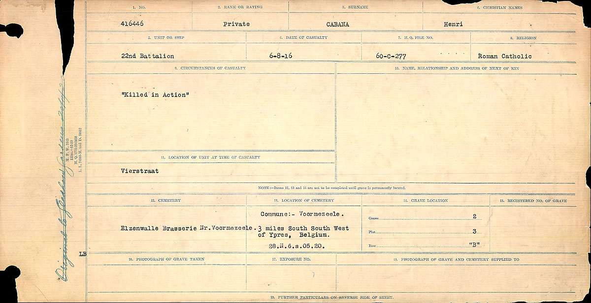 Title: Circumstances of Death Registers, First World War - Mikan Number: 46246 - Microform: 31829_B016726