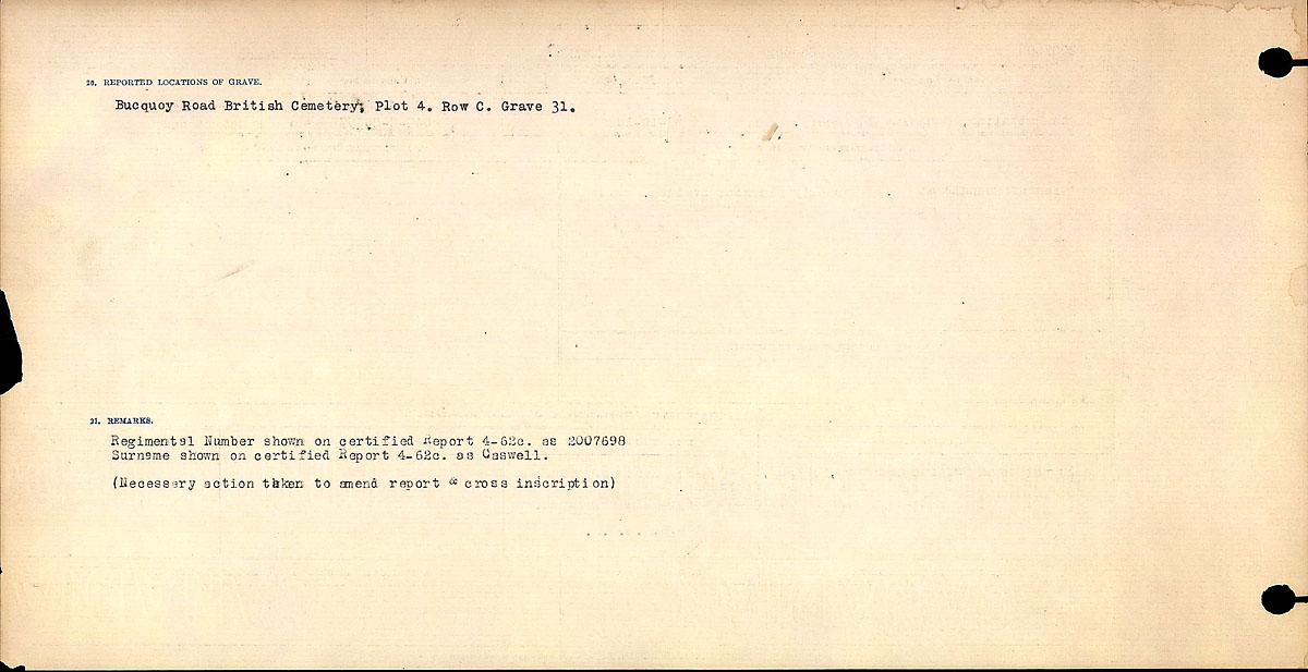 Title: Circumstances of Death Registers, First World War - Mikan Number: 46246 - Microform: 31829_B016727