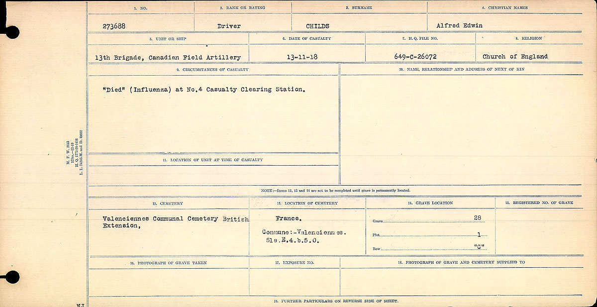 Title: Circumstances of Death Registers, First World War - Mikan Number: 46246 - Microform: 31829_B016729