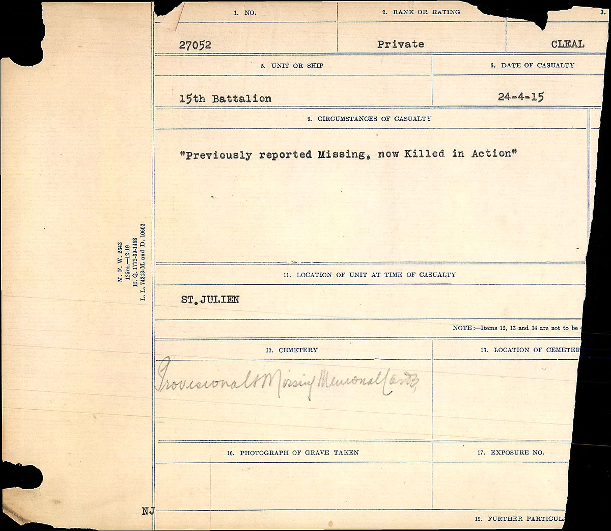 Title: Circumstances of Death Registers, First World War - Mikan Number: 46246 - Microform: 31829_B016730