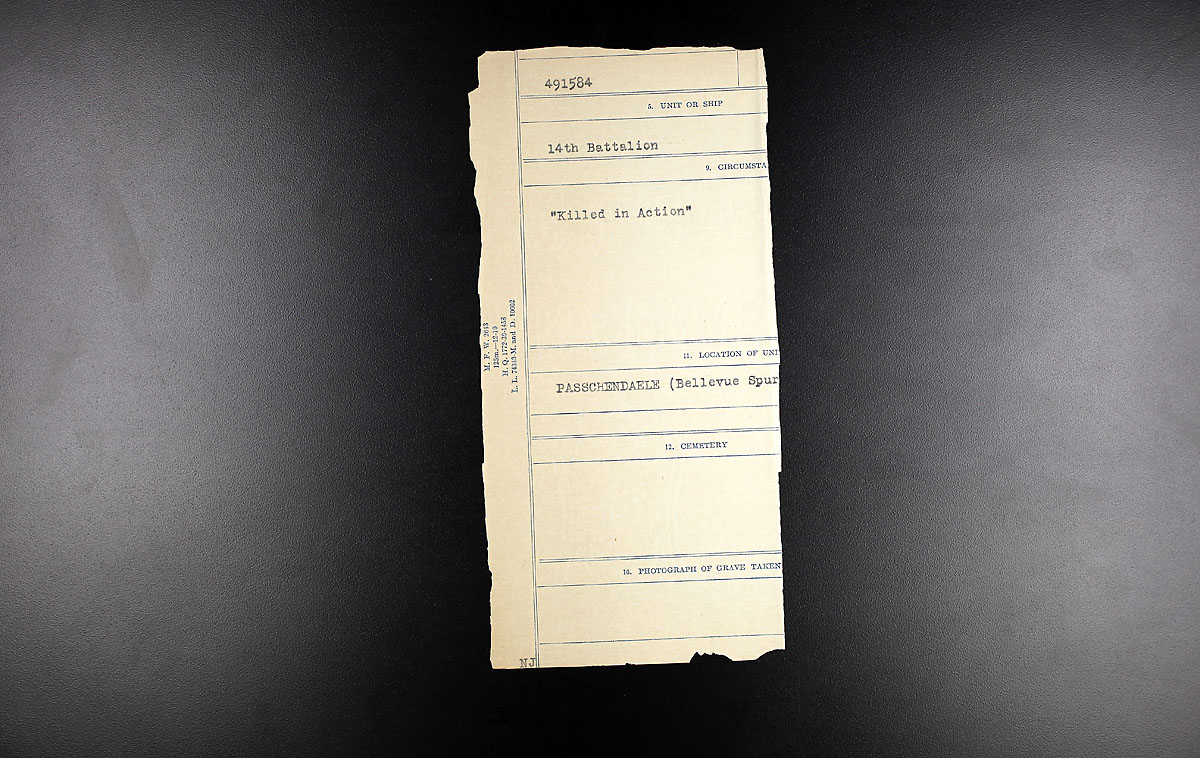 Title: Circumstances of Death Registers, First World War - Mikan Number: 46246 - Microform: 31829_B016732
