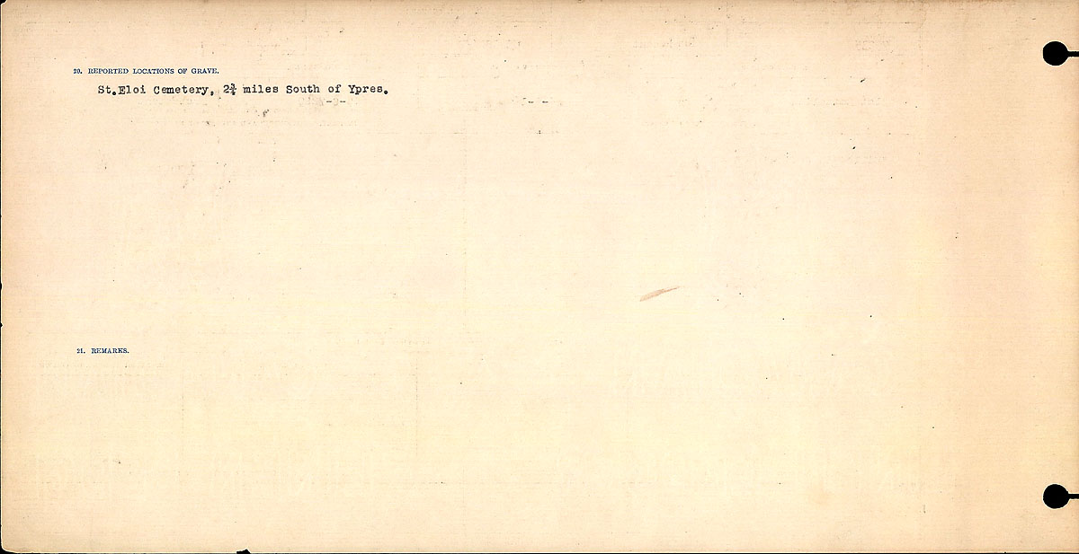 Title: Circumstances of Death Registers, First World War - Mikan Number: 46246 - Microform: 31829_B016733