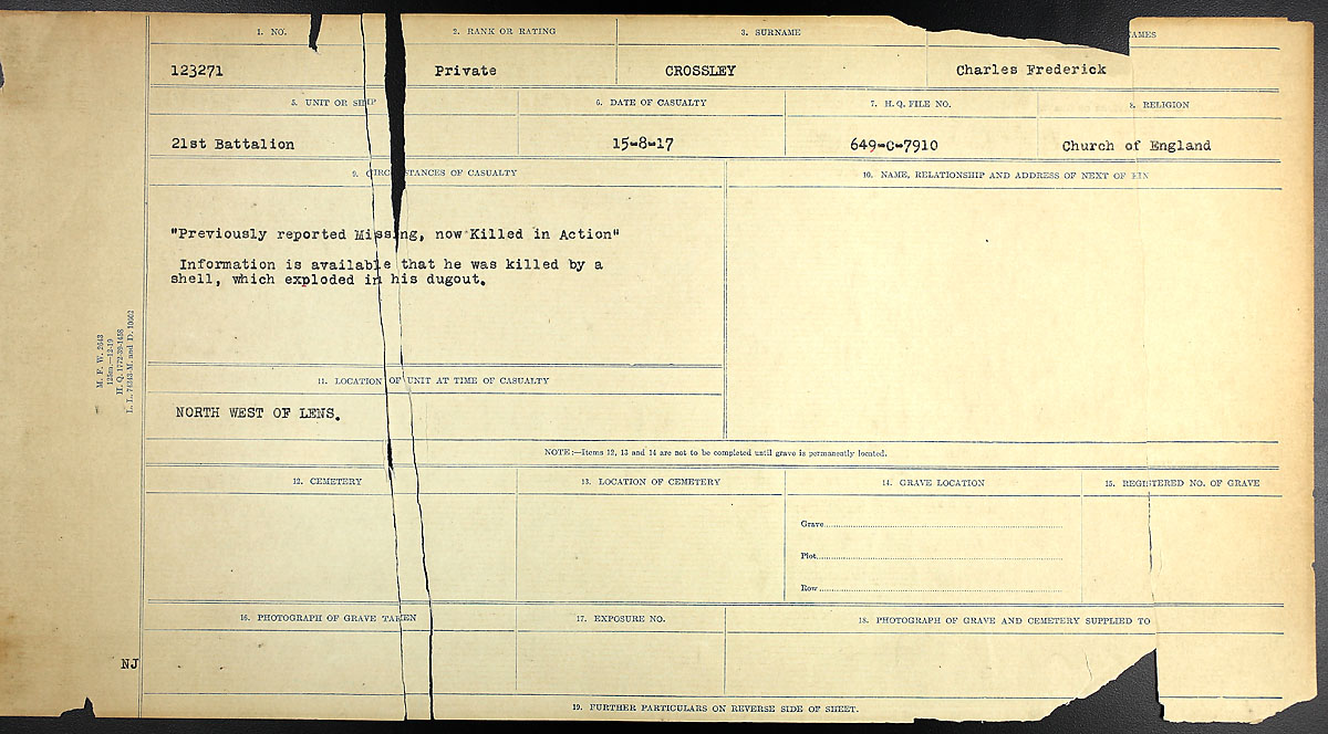 Title: Circumstances of Death Registers, First World War - Mikan Number: 46246 - Microform: 31829_B016734
