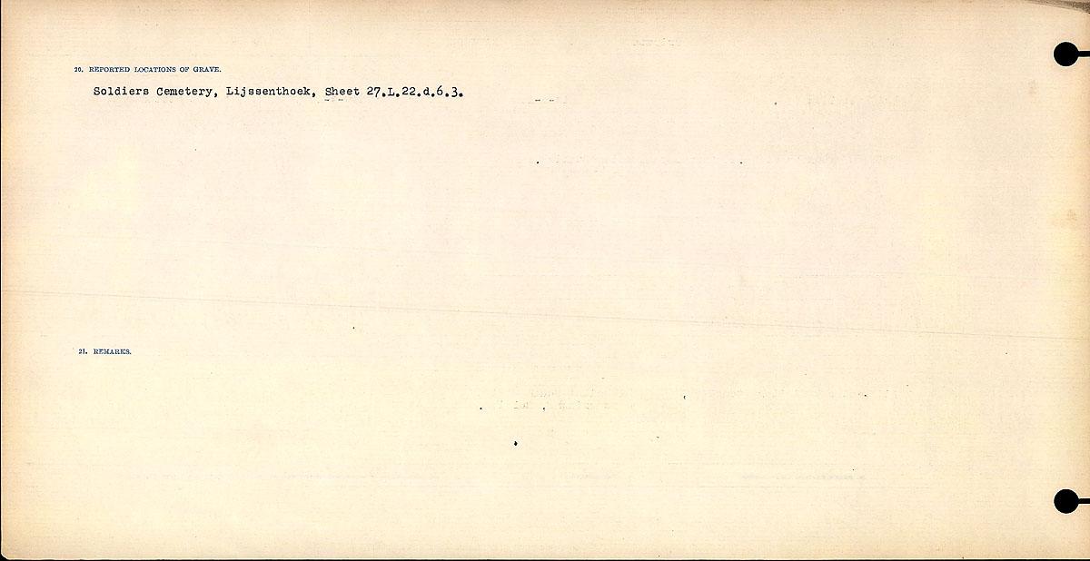 Titre: Registres de circonstances du décès, Première Guerre mondiale - N° d'enregistrement Mikan: 46246 - Microforme: 31829_B016735