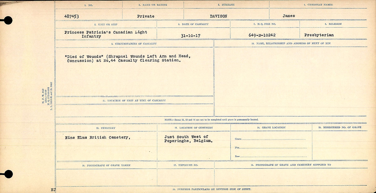 Title: Circumstances of Death Registers, First World War - Mikan Number: 46246 - Microform: 31829_B016735