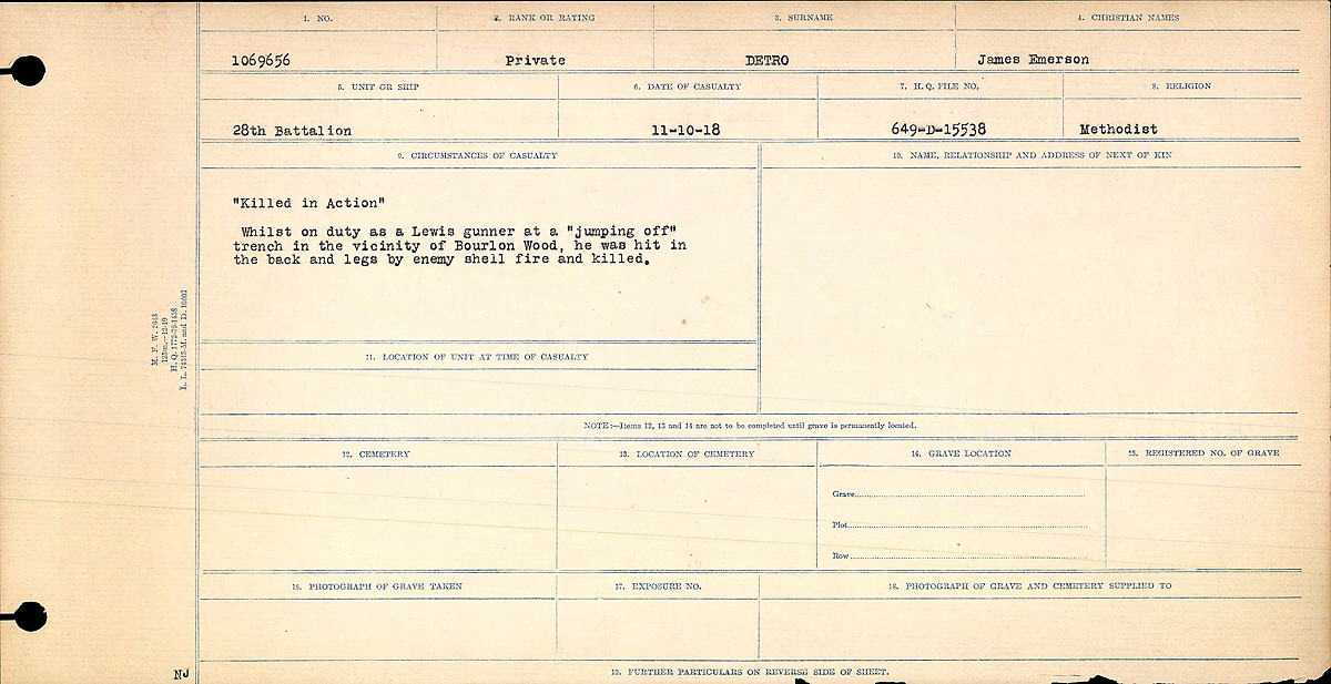 Title: Circumstances of Death Registers, First World War - Mikan Number: 46246 - Microform: 31829_B016736