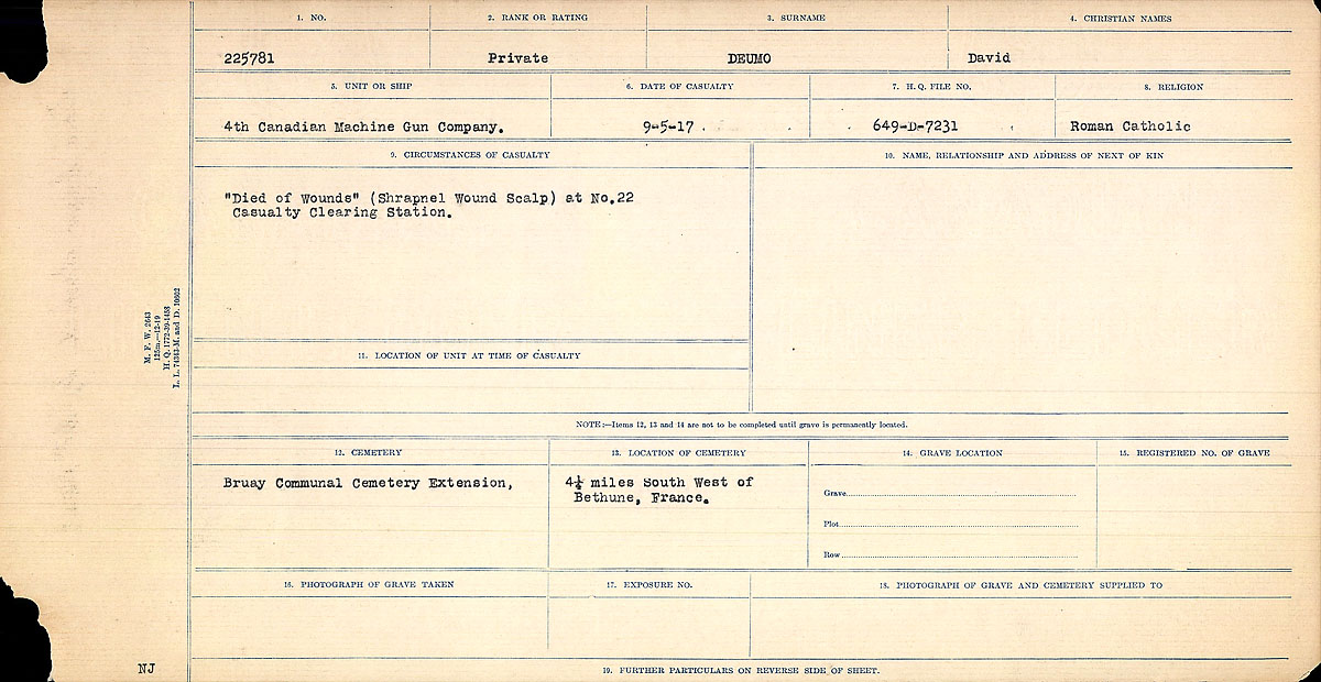 Title: Circumstances of Death Registers, First World War - Mikan Number: 46246 - Microform: 31829_B016737