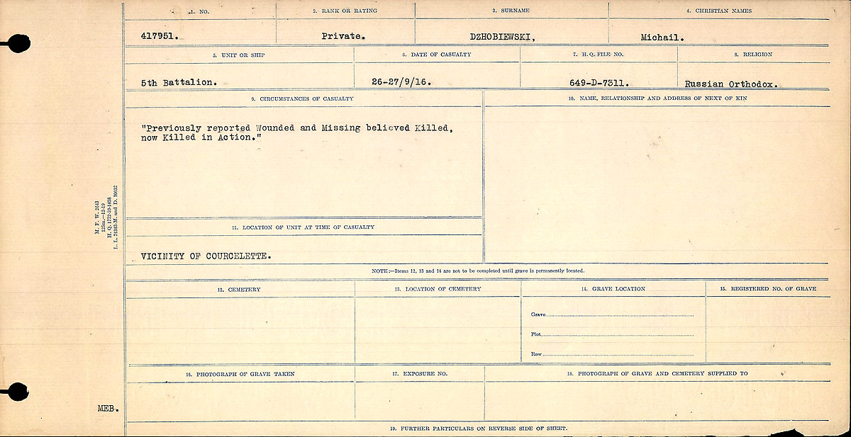Title: Circumstances of Death Registers, First World War - Mikan Number: 46246 - Microform: 31829_B016739