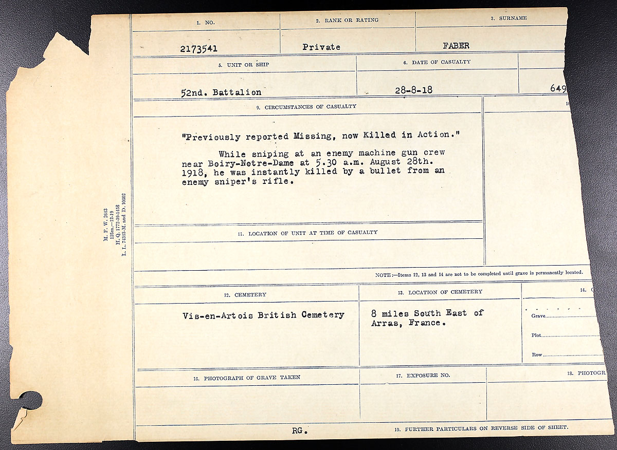 Title: Circumstances of Death Registers, First World War - Mikan Number: 46246 - Microform: 31829_B016742