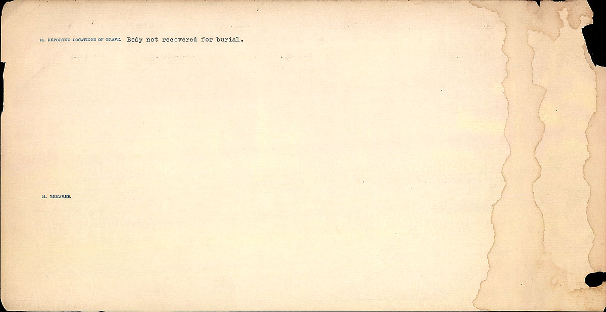 Title: Circumstances of Death Registers, First World War - Mikan Number: 46246 - Microform: 31829_B016745