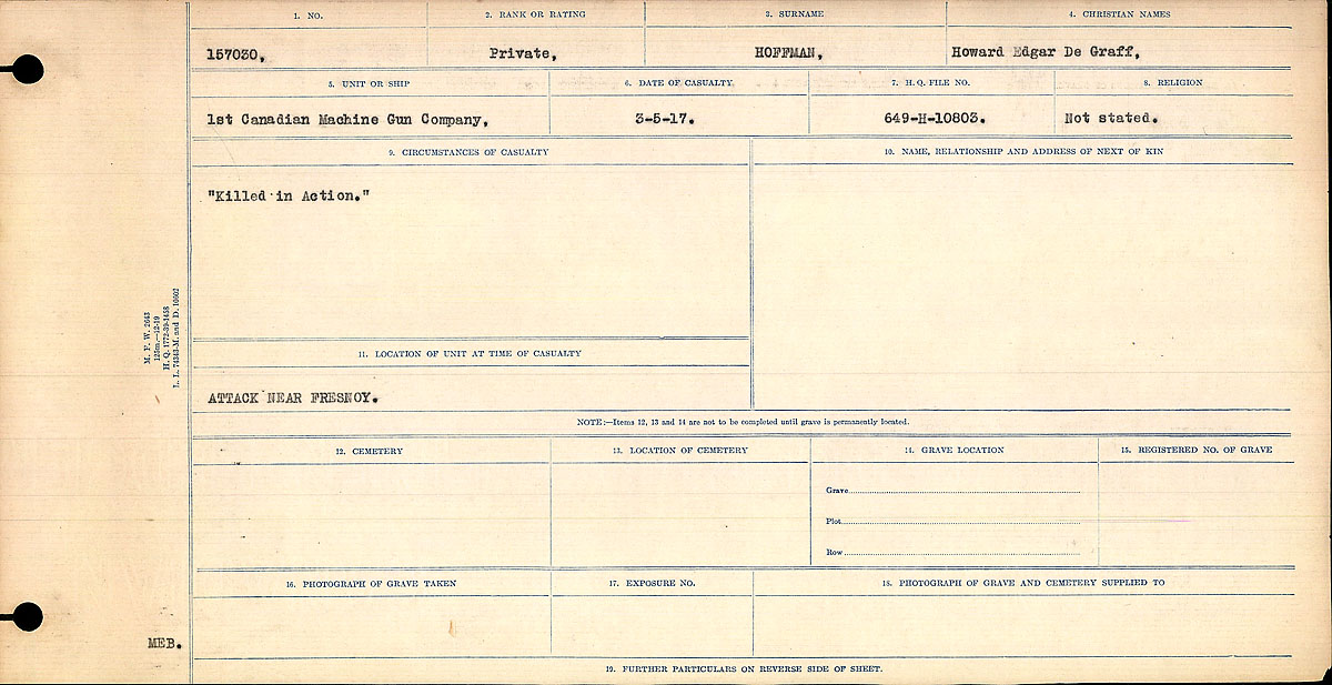 Title: Circumstances of Death Registers, First World War - Mikan Number: 46246 - Microform: 31829_B016746