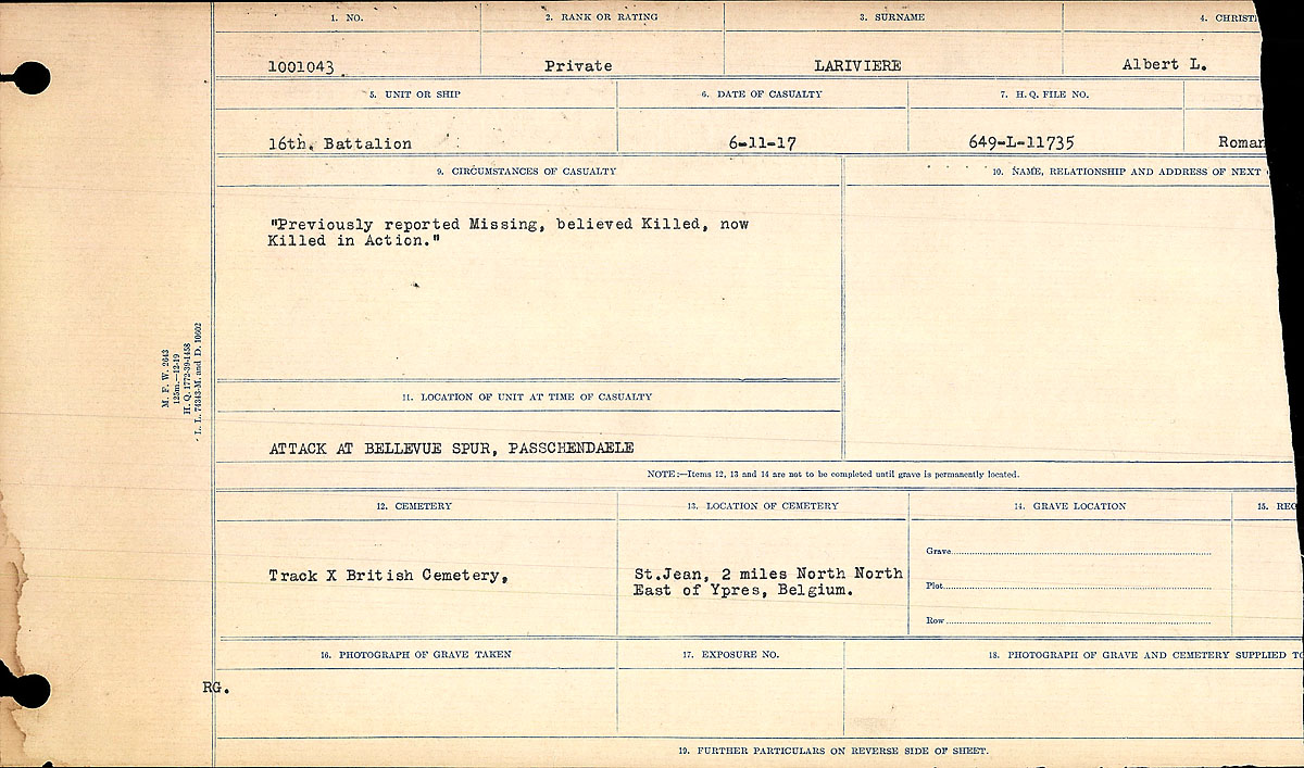 Title: Circumstances of Death Registers, First World War - Mikan Number: 46246 - Microform: 31829_B016747