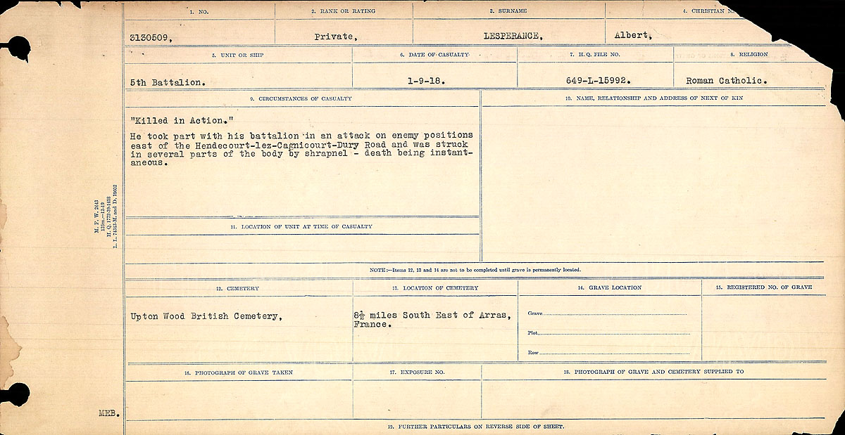 Title: Circumstances of Death Registers, First World War - Mikan Number: 46246 - Microform: 31829_B016749
